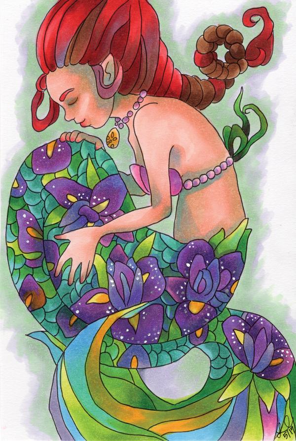 mermaids and (iris) flowers by crownlaurel