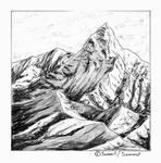 Day 2 of Inktober 2020: Mountain summit