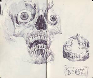 Skull with Teeth by SketchbookNoir