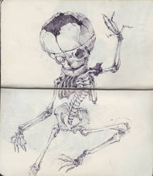 Dancing Fetal Skeleton by SketchbookNoir