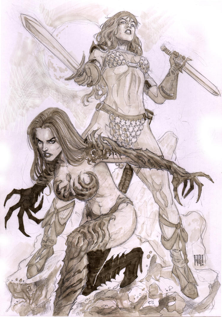 Quick Skecth:Red Sonja Witchblade by wgpencil