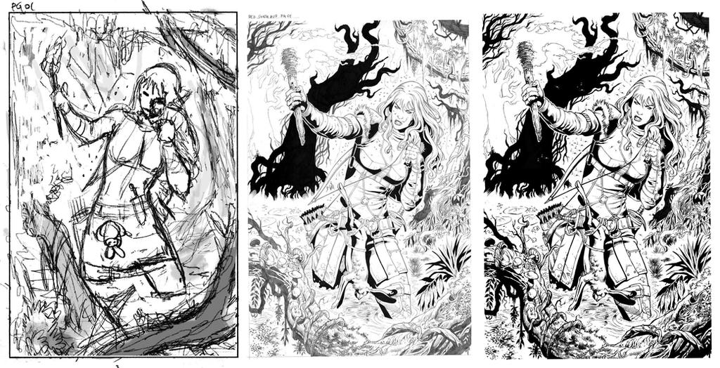 Red Sonja #7 page 01 Process by wgpencil