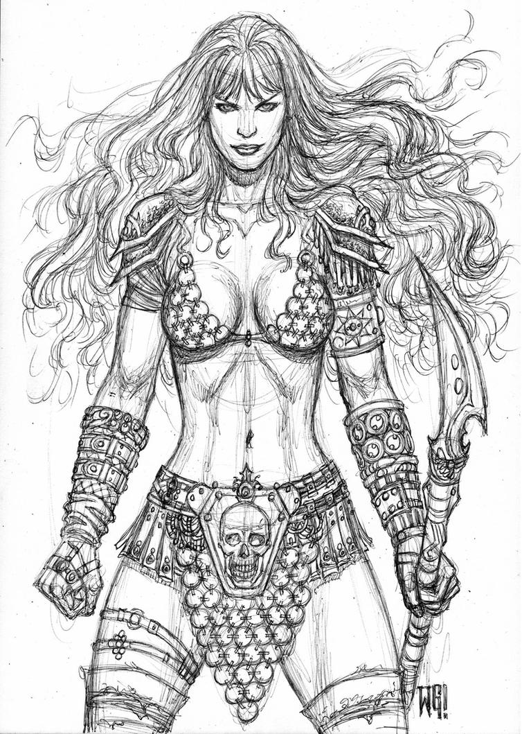 Sonja sketch with ballpoint pen by wgpencil