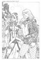 Black Canary and Huntress-Pin Up by wgpencil