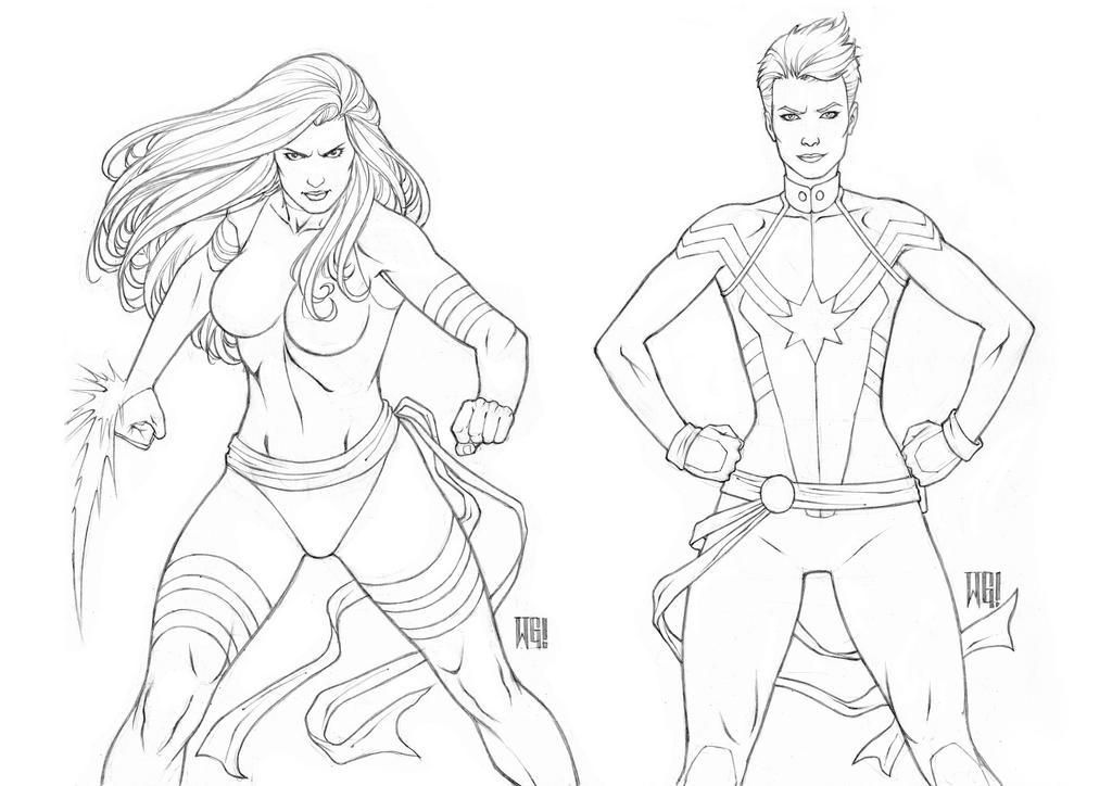 Psylocke/Captain Marvel by wgpencil