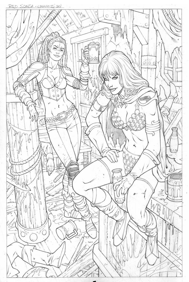 Red Sonja and Dark Annisia Commission... by wgpencil