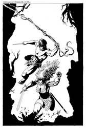 Red Sonja-Tarzan #6 Cover by wgpencil