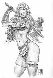 Red Sonja ballpointpen sketch