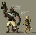 Cartoonized char 2 - Gunner and Tiger
