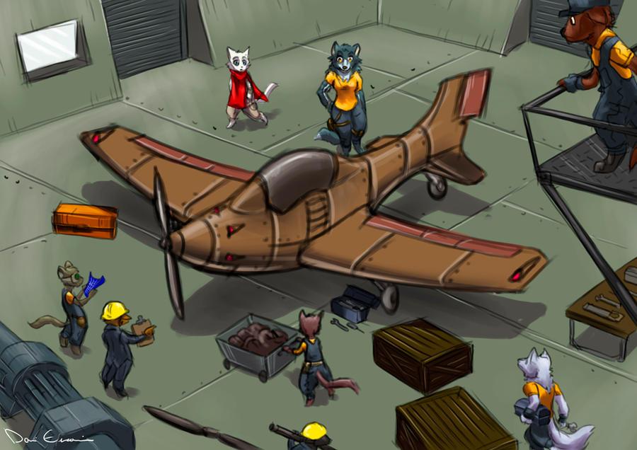 Chibi hangar deck by davi-escorsin