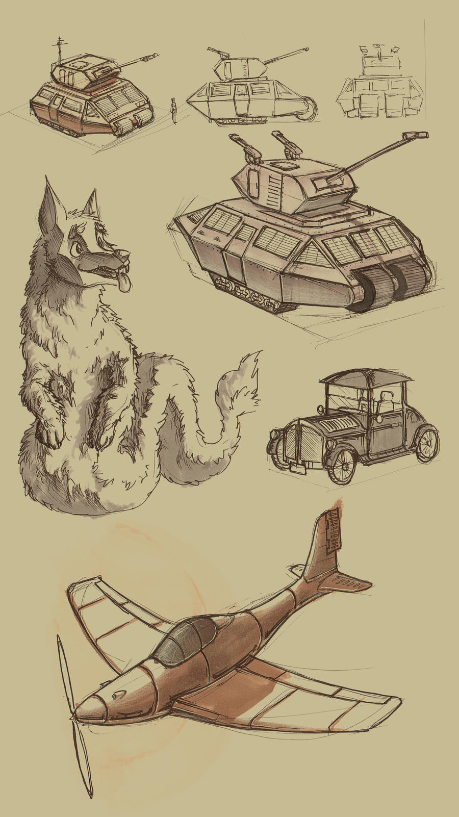 Sketch Dump - snake dog and vehicles by davi-escorsin