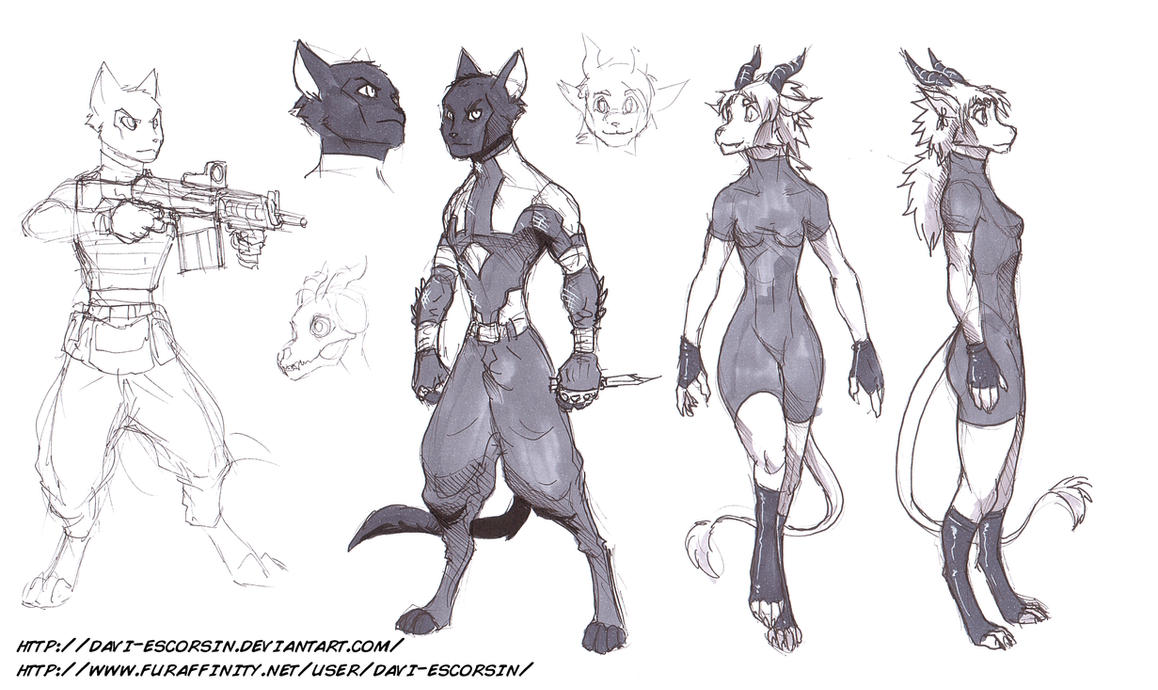 Sketch Dump - redesign librarian cat and dragoness by davi-escorsin