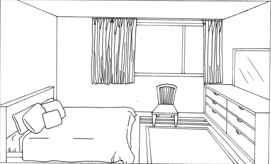 bedroom coloring pages sketch template