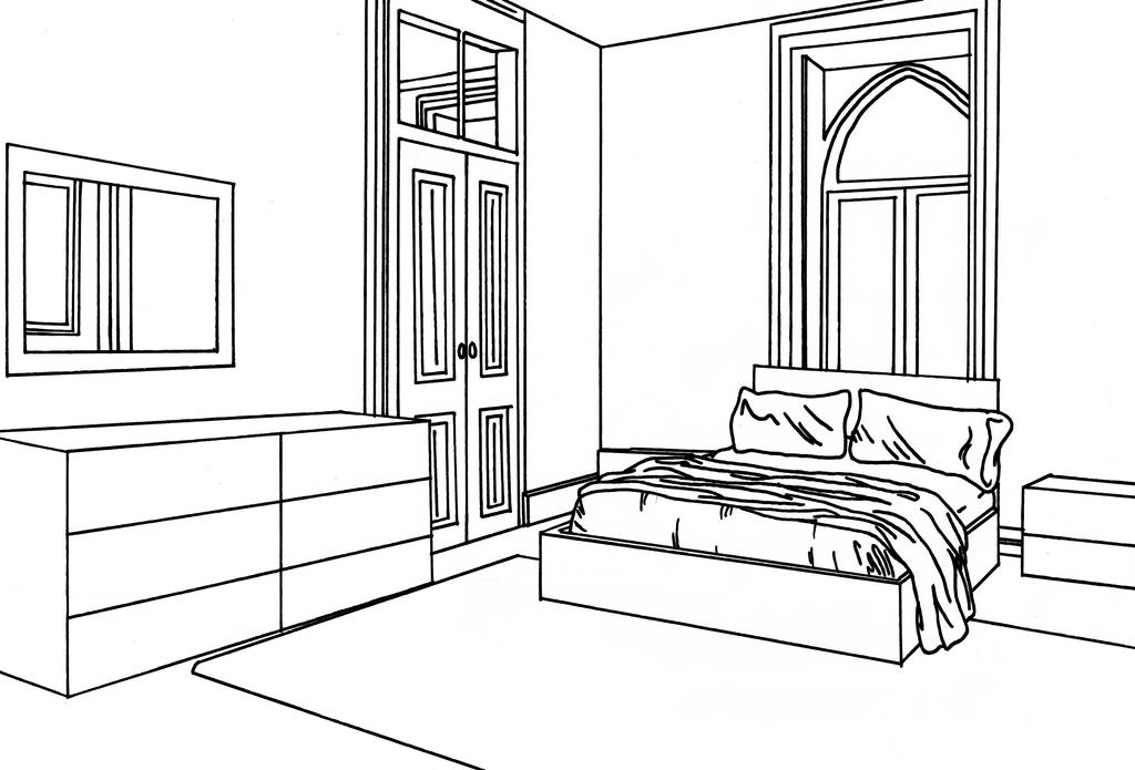 The Line Art And Living : Bedroom lineart by willow yanagi on deviantart
