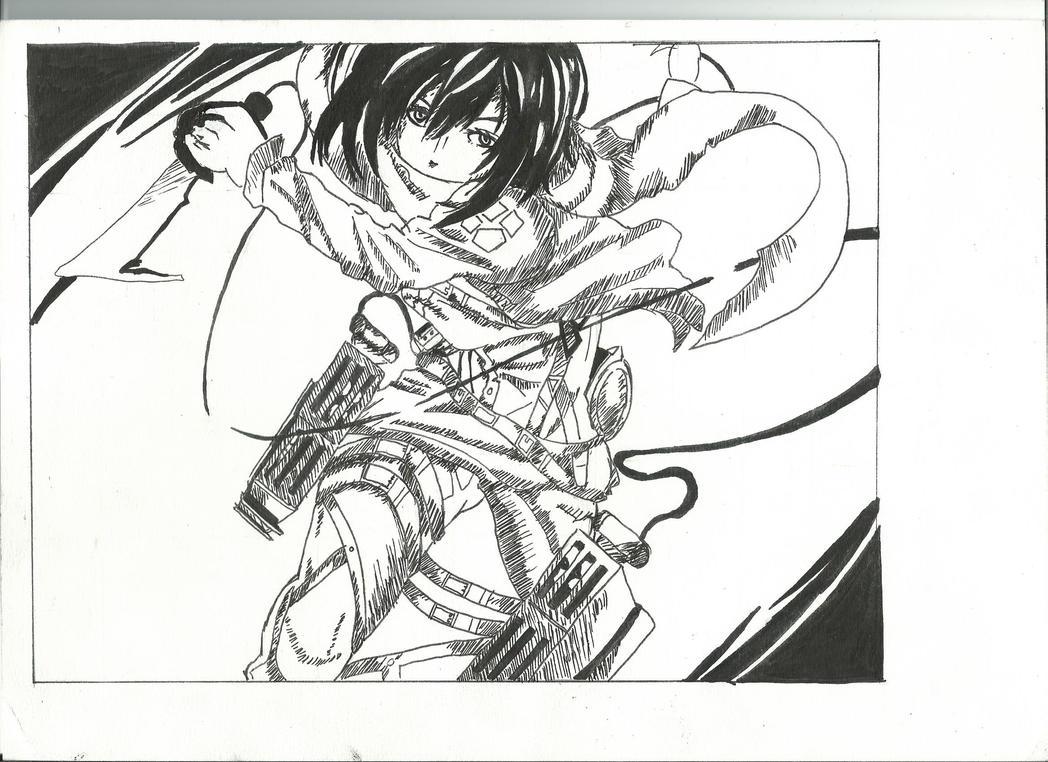 > dessins de Sayu < - Page 5 Mikasa_from_shingeki_no_kyojin__finished______by_thiasayu-d7mlrjp