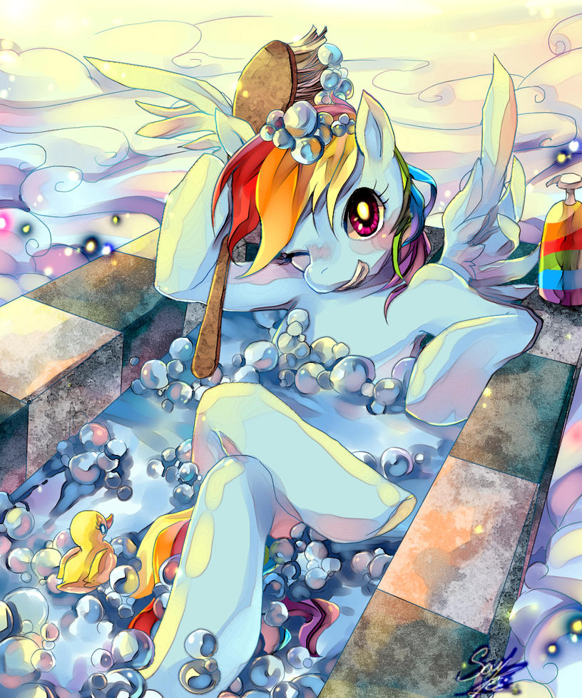 Rainbow Dash in bath by SoukiTsubasa