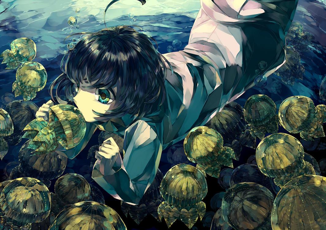 Golden jellyfish by SoukiTsubasa