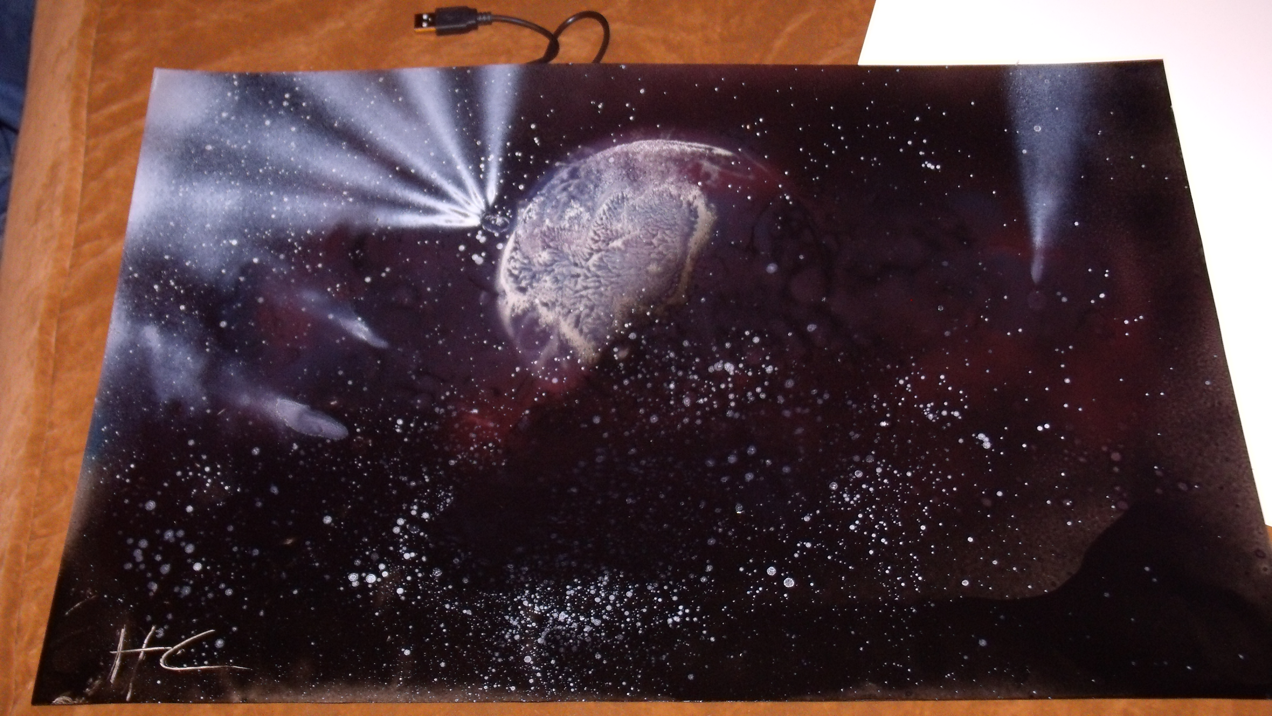 my very first spray paint space art painting 3 by leonardodecraprio. Black Bedroom Furniture Sets. Home Design Ideas