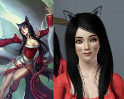 The Sims3 vs. League of Legends: Ahri by chiko-san