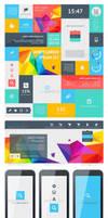 UI Set Components Featuring Flat Design