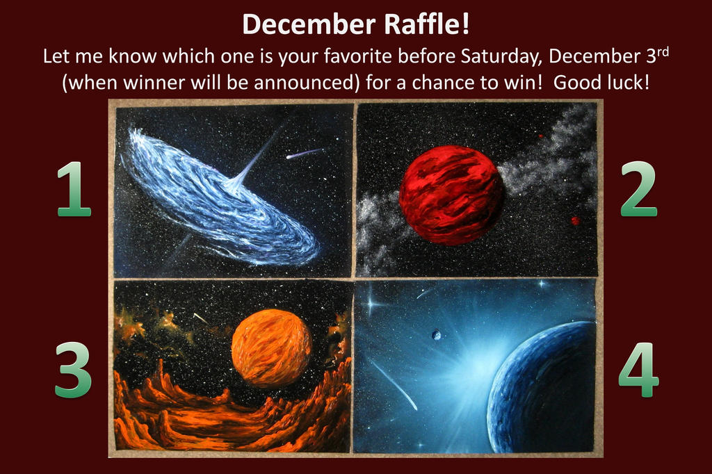 December Raffle 2016 by crazycolleeny
