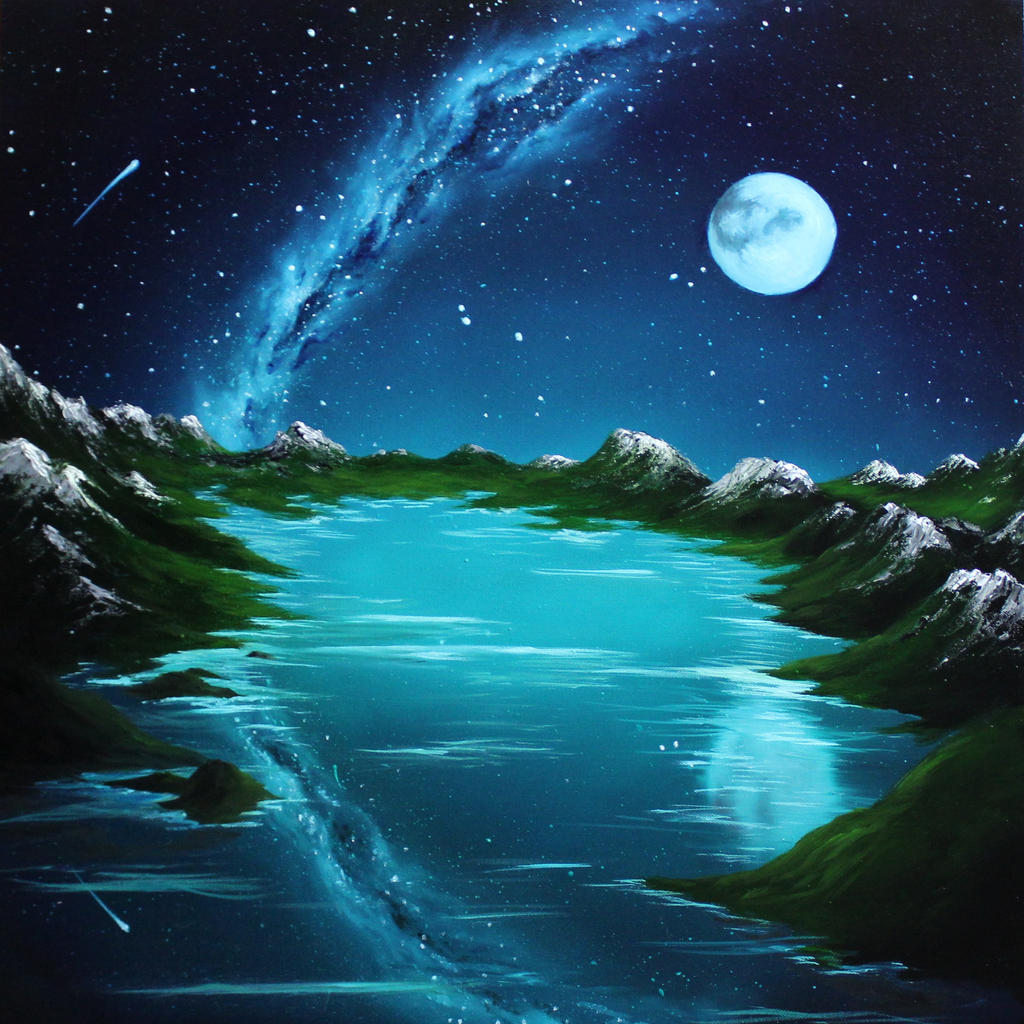 Moon over Mountain Lake by crazycolleeny