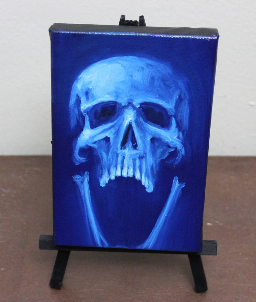 Blue Screaming Skull by crazycolleeny