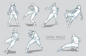 Sketchdump January 2016 [Dynamic poses] by DamaiMikaz