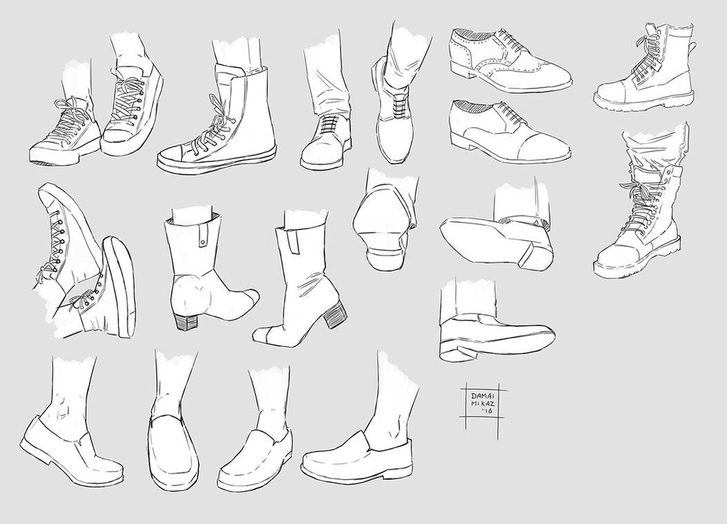 How to draw flat shoes