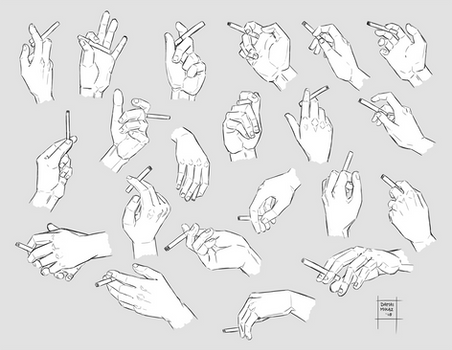 Sketchdump March 2018 [Hands with cigarettes]