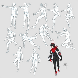 Sketchdump October 2018 [Flying and falling poses] by DamaiMikaz