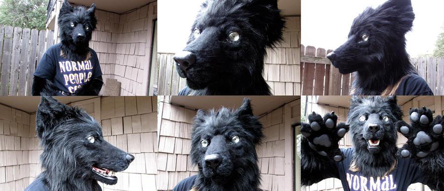 Realistic Black Wolf Fursuit Mask by SBGothik