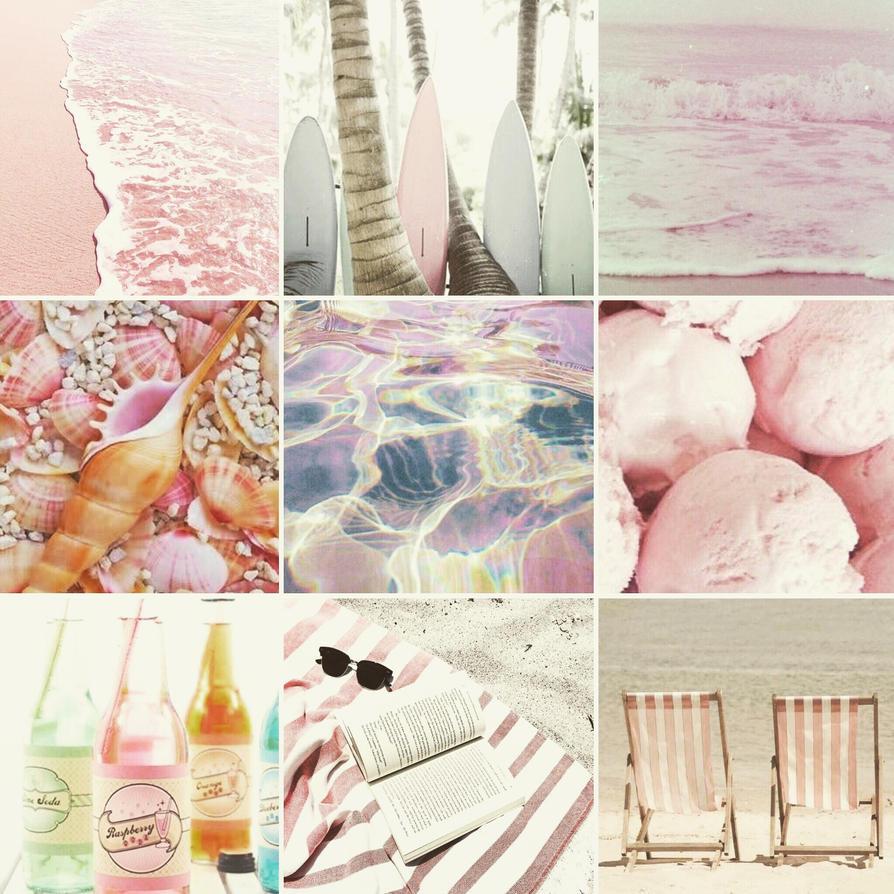 Pastel pink beach mood board by Butter-Scotch-Kitten