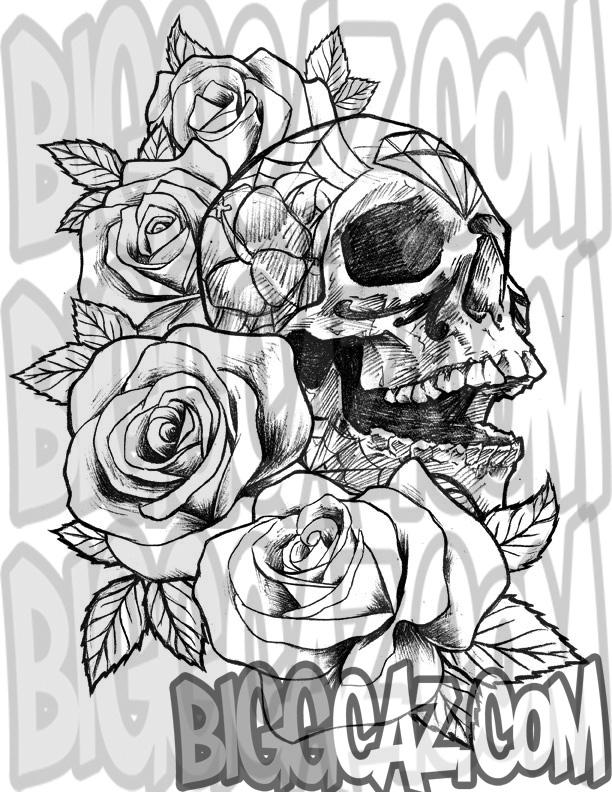 dia de los muertos skull and roses by biggcaz on deviantart