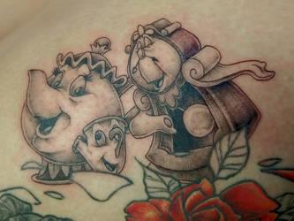 Clocksworth, Chip and Ms. Pots Tattoo