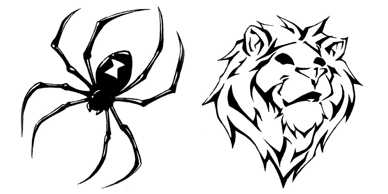 tattoo flash 1 spider and lion by biggcaz on deviantart. Black Bedroom Furniture Sets. Home Design Ideas