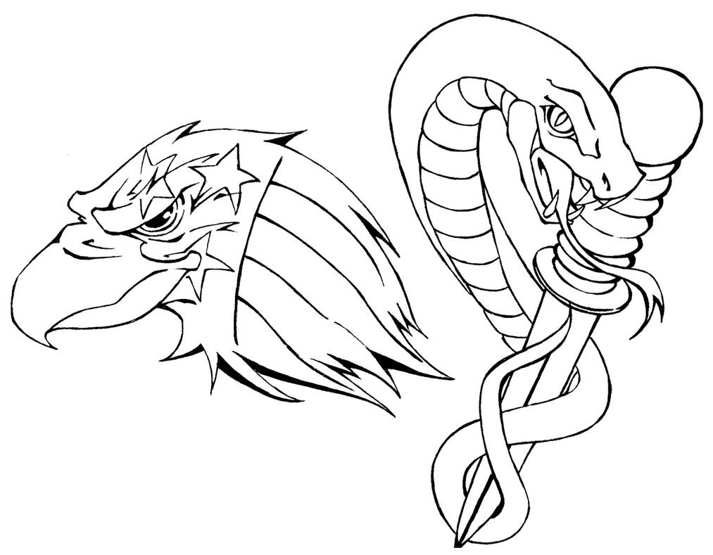 Snake Tattoo Line Drawing : Tattoo flash eagle and snake by biggcaz on deviantart