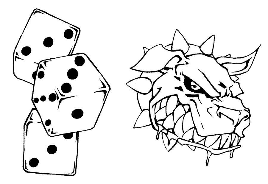 tattoo flash 3 dice and dog by biggcaz on deviantart. Black Bedroom Furniture Sets. Home Design Ideas