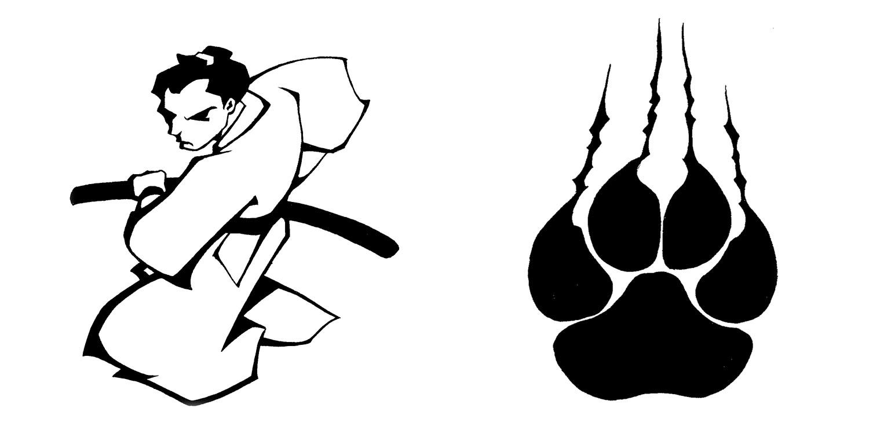 tattoo flash 6 samurai and paw by biggcaz on deviantart. Black Bedroom Furniture Sets. Home Design Ideas