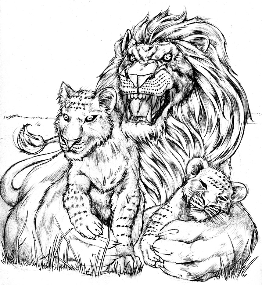 Lion and cubs by biggcaz on deviantart for Lion and cub tattoo