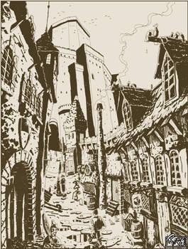 Fantasy city street