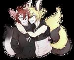 Joel hugs! : 3 - art trade with Lunarisfox