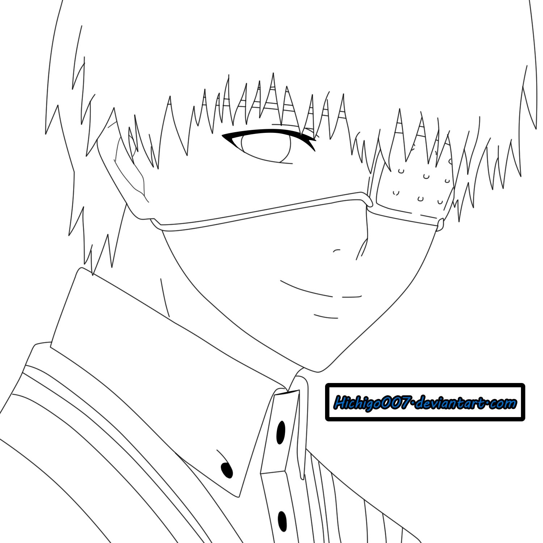 Kaneki Lineart : Ken kaneki lineart by hichigo on deviantart