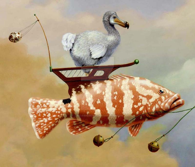 Upper Deck Dodo - detail fish by LindaRHerzog