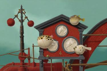4 Steam Engines  -  24 x 36  oil on canvas by LindaRHerzog