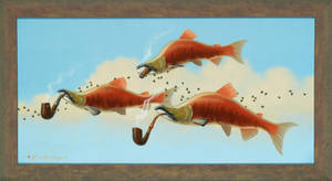 Smoking Salmon With Capers - 15 x 30  oil on canva