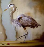 Spot About Gone - Detail Heron by LindaRHerzog