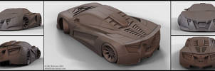 V12 Supercar concept - clay renders