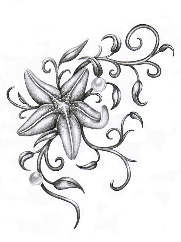 Starfish by ca5per on deviantart for Ocean tattoos black and white