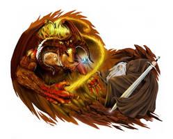 Balrog versus Gandalf color version by ca5per